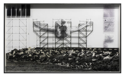 JR, 'GIANTS, Cleuson LIMA DO ROSARIO from Brazil, Barra da Tijuca, from the beach © Comité international Olympique, Work in progress, Rio de Janeiro, Brazil, 2017', 2017