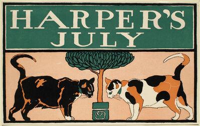 Edward Penfield, 'Two Cats and a Tree, July Harper's', 1885-1915