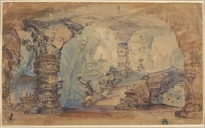 Robert Caney, 'Imaginary Interior With Columns And Stairs'