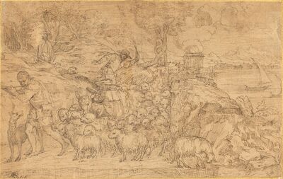 Domenico Campagnola, 'Shepherd Playing a Flute and Leading His Flock'