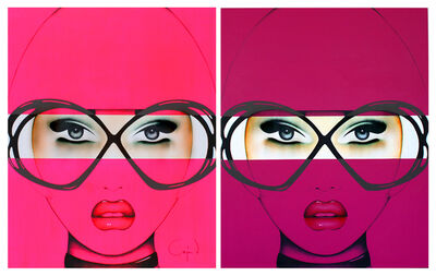 Anja Van Herle, 'For Your Eyes Only Series (Diptych)  - Original Painting on Panel'