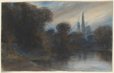 Paul Huet, 'An Abbey by a Wooded Lake at Twilight', ca. 1831