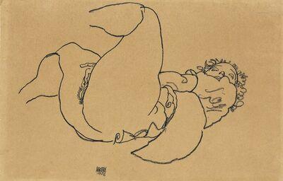 Egon Schiele, 'Reclining female nude with raised legs', 1918