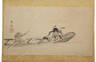 Hanabusa Itchō, 'Hanging Scroll; Shoki and Oni in a Boat (T-3406)', Edo period (1615–1868) 18th century