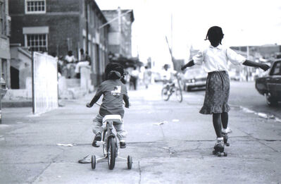 Jamel Shabazz, 'Girls on Bike and Skates', ca. 1980