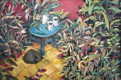 Carlos Lope, 'Jardín con mesita azul y gato', 2016