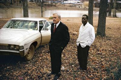 William Eggleston, ' Untitled, 1969 - 70 (the artist's uncle, Ayden Schuyler Senior, with Jasper Staples, in Cassidy Bayou, Sumner, Mississippi) ', 1969-1970