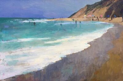 """Larry Horowitz, '""""The Surf"""" Painterly Landscape, Blue and Turquoise Ocean, Brown Sienna Beach', 2010-2018"""