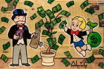 Alec Monopoly, 'Richie Picking Monopoly Watering $ Tree', 2018