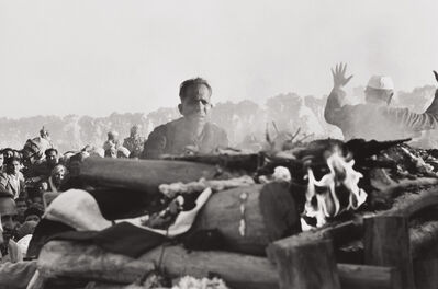 Henri Cartier-Bresson, 'Gandhi's secretary watches the first flames of the funeral pyre, Delhi, India', 1948