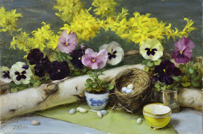 Gracie Devito, 'Forsythia and Pansies'