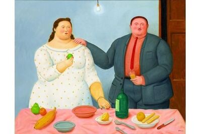 Fernando Botero, 'Couple with Still Life', 2013