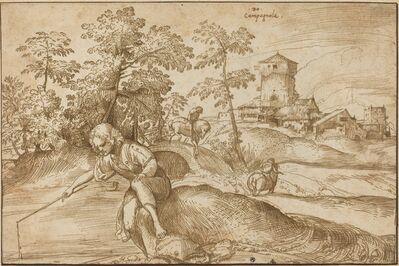 Domenico Campagnola, 'Landscape with a Boy Fishing', ca. 1520