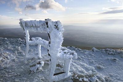 Rachel Cobb, 'Snow-covered Bench 1/5'