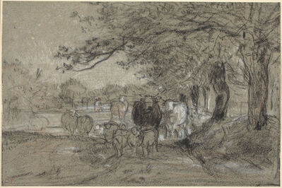 Constant Troyon, 'Cows Under Trees'