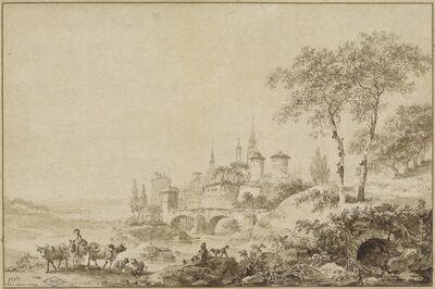 Jean-Baptiste Le Prince, 'Shepherds in a Landscape before a Fortified Town', 1777