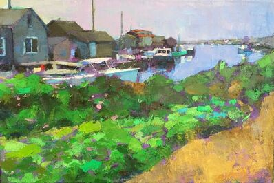 "Larry Horowitz, '""Menemsha Docks"" oil painting of Martha's Vineyard harbor with green bushes', 2019"