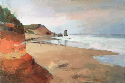 """Larry Horowitz, '""""Vineyard Beach"""" oil painting of Lucy Vincent Beach in earth tones.', 2019"""