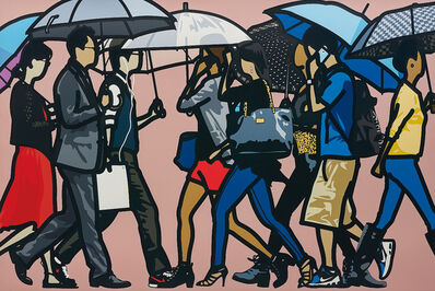 Julian Opie, 'Walking in the Rain, Seoul', 2015