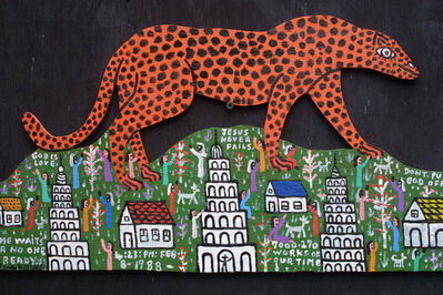 "Howard Finster, '""Cheetah on the Mountain"" ', 1988"