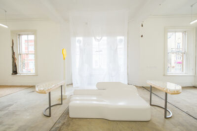 Nicola L, 'White Sofa; Egg Round Table (Homage to Marcel Broodthaers); Atmosphere', 1970 -2008