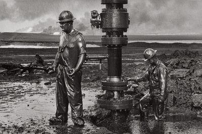 Sebastião Salgado, 'Workers Place a New Wellhead, Oil Wells, Kuwait', 1991