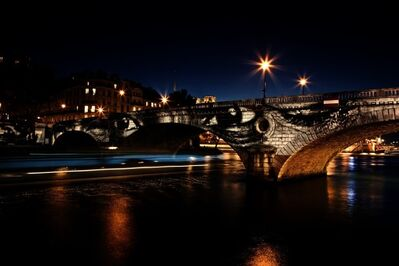 JR, '28 Millimètres, Women Are Heroes, Exhibition in Paris, Pont Louis-Philippe - Pont Marie side by night, with barge, France', 2010