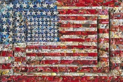 Vik Muniz, 'Three Flags, after Jasper Johns (Pictures of Magazines 2)', 2014