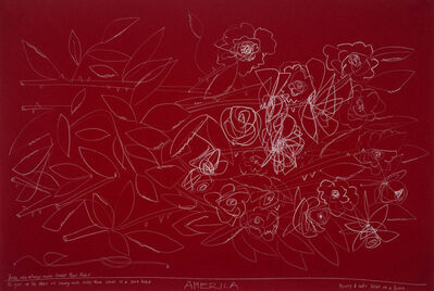 America Martin, '3 Roses of Different Shape on Red Paper', 2018