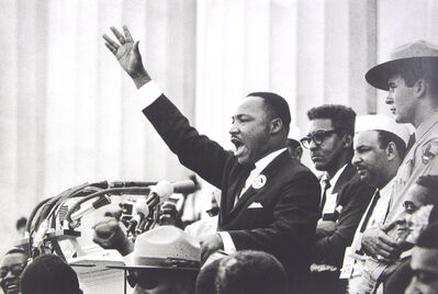 """Bob Adelman, 'King ends his speech with the words of the old Negro spiritual, """"Free at last! Free at last! Thank God Almighty, we are free at last!"""" Washington, D.C.', 1963"""