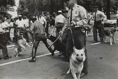 Charles Moore, 'Dogs used by Birmingham, Ala. Cops to quell Negro Race Riots', 1963