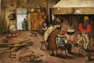 Pieter Bruegel the Younger, 'Peasants warming themselves beside the hearth'