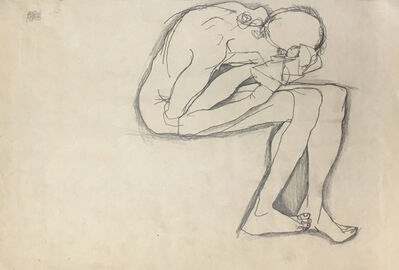 Egon Schiele, 'Nude Crouching', 1913