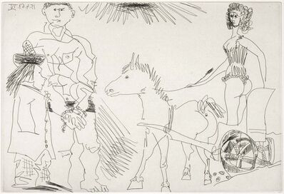 Pablo Picasso, 'Circus Scene with a Horsewoman on a Chariot Led by a Donkey (El Entierro del Conde de Orgaz, B.1468)', 1969