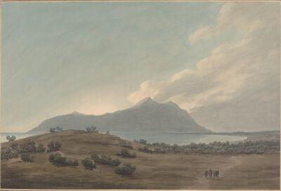 John Robert Cozens, 'Monte Circeo at Sunset', 1780s