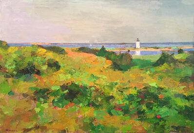 """Larry Horowitz, '""""Summer in Edgartown"""" Painterly Landscape with Lighthouse in Greens with Ocean', 2010-2018"""