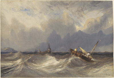 Eugène Isabey, 'Fishing Boats Tossed before a Storm', ca. 1840