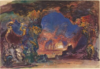 Robert Caney, 'Underworld Scene with a Man and Woman Enthroned and Death Standing Guard'