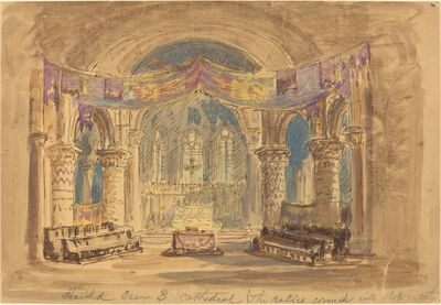 """Robert Caney, '""""Harold Scene 3 Cathedral (The relics covered with cloth at centre)""""'"""