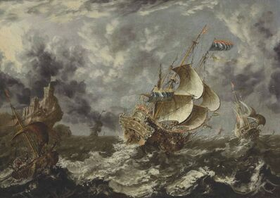 The Monogrammist K.H., 'Warships in choppy seas'