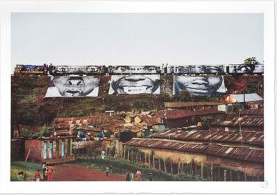 JR, 'In Kibera Slum, Train Passage 1 '