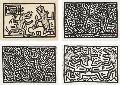 Keith Haring, 'Untitled I –VI Suite: four plates', 1982