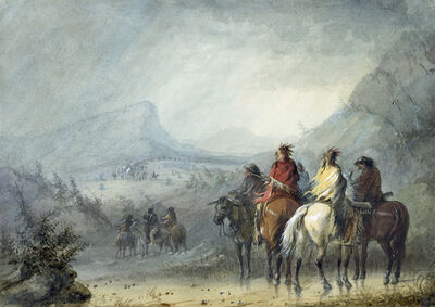 Alfred Jacob Miller, 'Storm: Waiting for the Caravan', 1858-1860