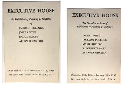 """Jackson Pollock, 'TWO PIECE SET- """"An Exhibition of Painting & Sculpture"""" (first & second show), 1956, Executive House Hotel (lobby), Group Show Invitation,', 1956 & 1957"""