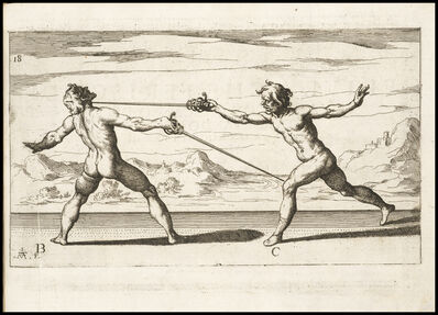 Raffaello Schiaminossi, 'Figura que ferisce di quarta nella gola col pie manco di passata', 1610