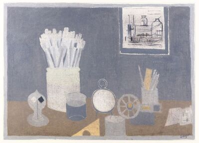 Bernard Myers, 'Still life with paint brushes, train sketches on the wall'