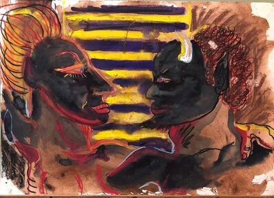 Peter Dean, 'One More Time (Black Devil) Outsider Art Painting, Drawing', 1980-1989