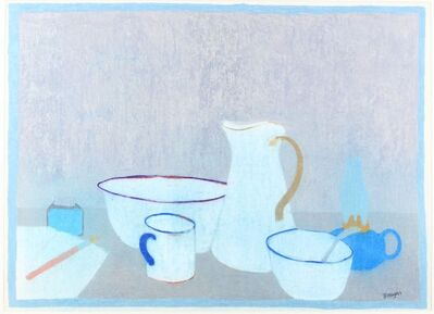 Bernard Myers, 'Still life with a jug, cups and ink pen and paper'