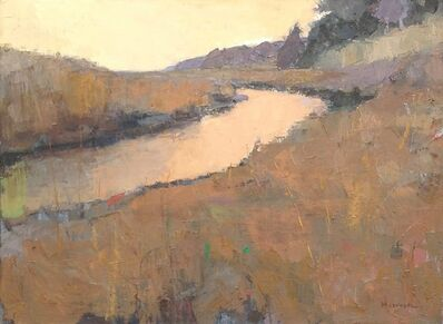 """Larry Horowitz, '""""Sienna Estuary"""" Painterly Landscape in Browns, Ochre Yellows and Muted Purple', 2010-2018"""