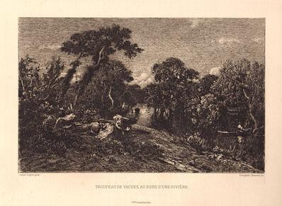 Theophile Narcisse Chauvel, 'Troupeau de Vaches au bord d'une Rivière', ca. 1870